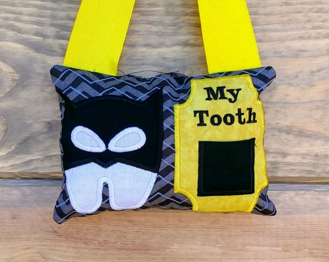 Batman themed tooth fairy pocket pillow, Gift for kids, Gift under 25