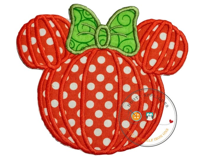 Large mouse head shaped pumpkin . Iron embroidered fabric applique patch embellishment-ready to ship
