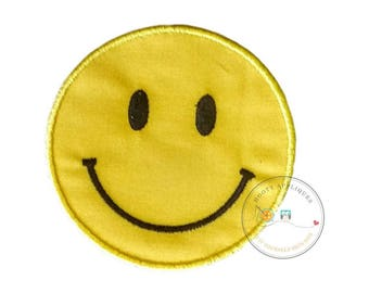 Emoji smile face iron on applique, yellow smiley face no sew patch ready to ship