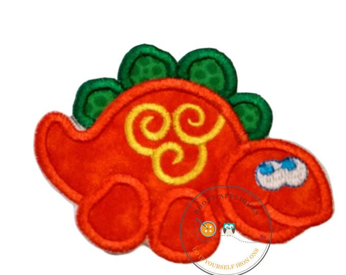 Small orange dino - iron embroidered fabric applique patch embellishment- ready to ship