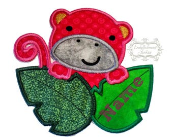 Curiouse pink monkey iron on applique, pink girl embroidered monkey fabric iron on patch, personalizable girl jungle monkey with leaves