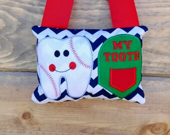 Baseball tooth themed fairy pocket pillow- red, blue and white