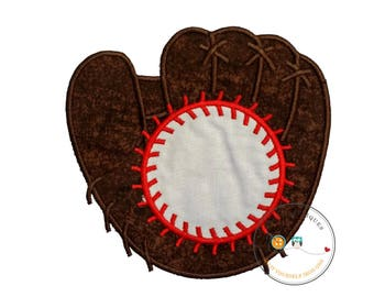 Over sized monogram baseball mitt and ball iron on applique, Embroidered fabric baseball glove with baseball iron on patch, sports iron on