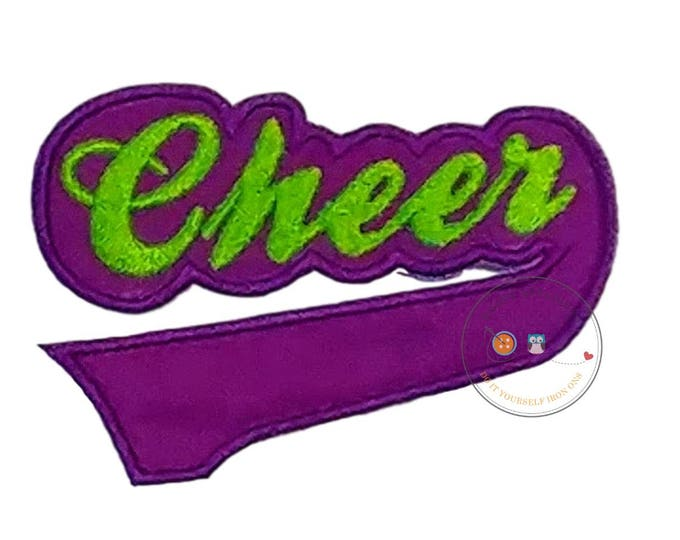 Purple and green Cheer  iron on applique, Fall sports no sew patch , Machine embroidered football fabric applique
