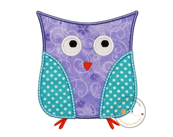 Lavender and aque owl iron on patch, soft purple and blue owl machine embroidered heat press patch for clothing, quick shipping appliques