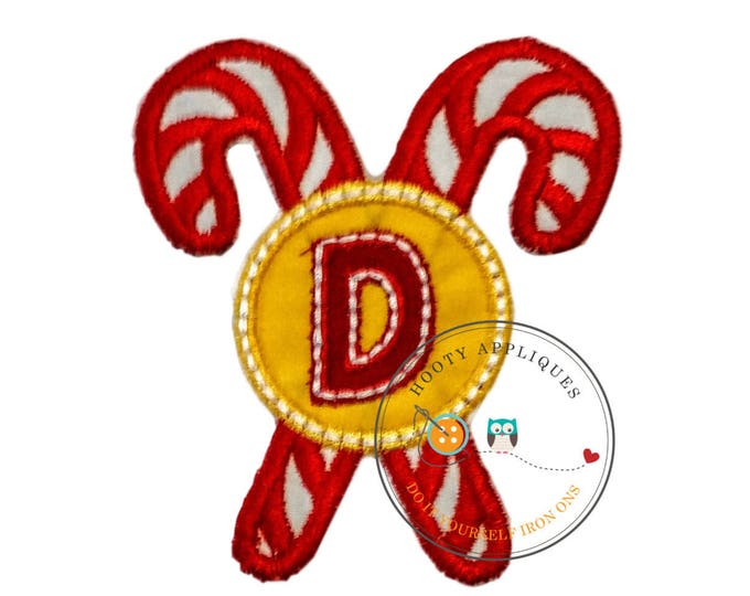 Christmas candie cane initial letter D- iron embroidered fabric applique patch embellishment- ready to ship