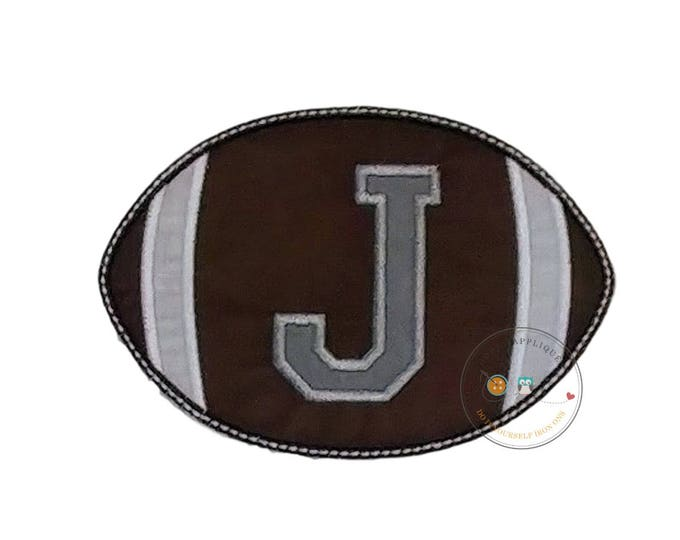 Football with athletic letters iron on applique