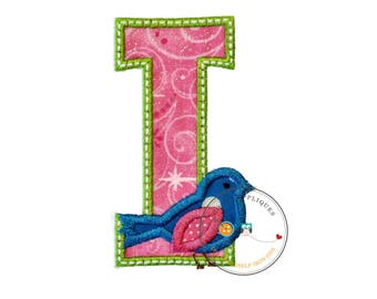 Large initial letter I- iron embroidered fabric applique patch embellishment- ready to ship