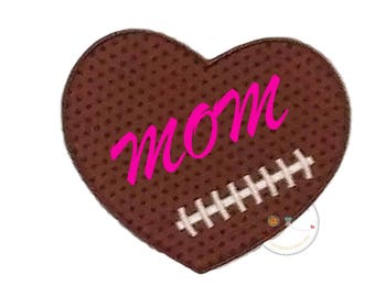 Football  heart iron on applique, Fall sports no sew patch , Machine embroidered football fabric applique