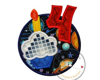 Solar system birthday number 4 circle with cupcake iron on applique, fourth birthday iron on cupcake patch, solar system birthday number 4