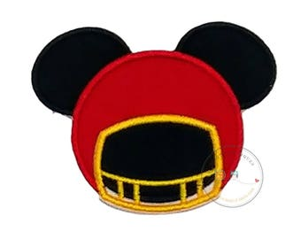 Mouse football helmet iron on applique