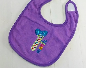 One month with number 1 purple embroidered Koala Baby cloth baby bibs for  infant girls