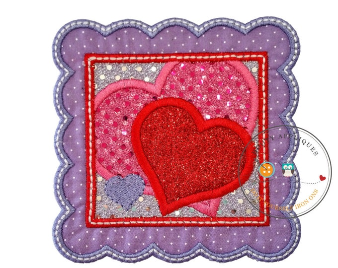Valentine's day postage stamp with glitter and sequin hearts, fabric embroidered iron on applique, diy boutique patch, ready to ship