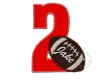 Orange birthday number with  football iron on applique