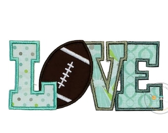 Football Love text iron on applique