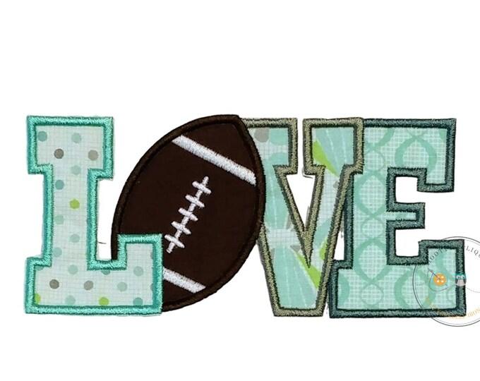 Football Love text iron on applique