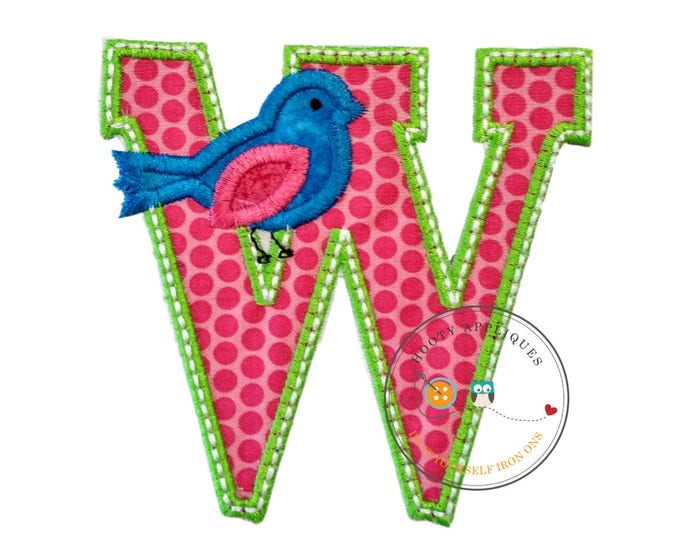 Letter w with song bird and white/green trim - iron embroidered fabric applique patch embellishment- ready to ship