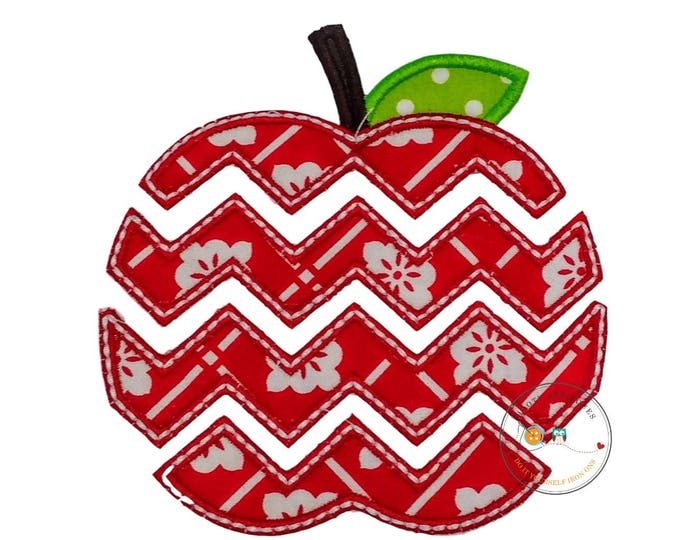 Red and white chevron apple applique