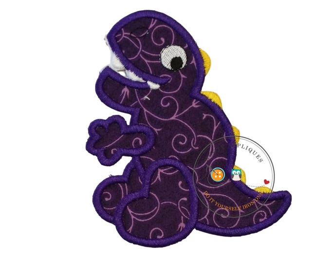 Large purple with pattern dino - iron embroidered fabric applique patch embellishment- ready to ship