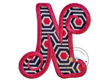 Chunky curls letter N iron on applique, Girls nautical monogram, iron on initial N, Blue and pink monogram letter N, Ready to ship