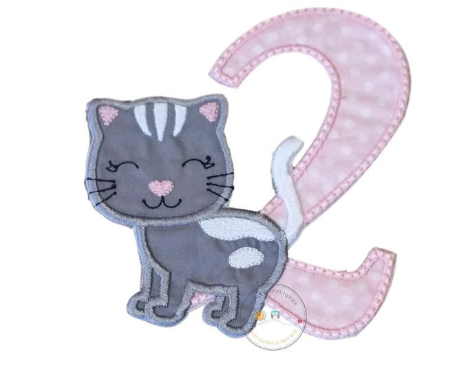 Gray kitty birthday number 2 iron on applique - pink birthday number two iron t-shirt applique- ready to ship