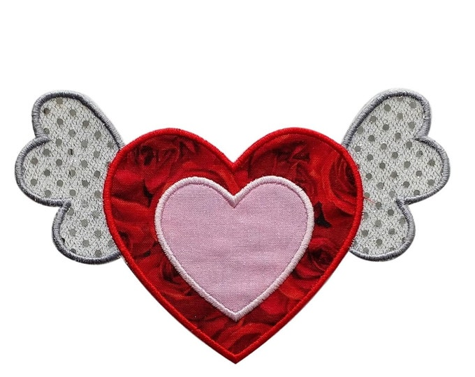 Iron on Heart with Wings Patch- Valentine's day applique- Personalize- ***Ships in 72hrs***