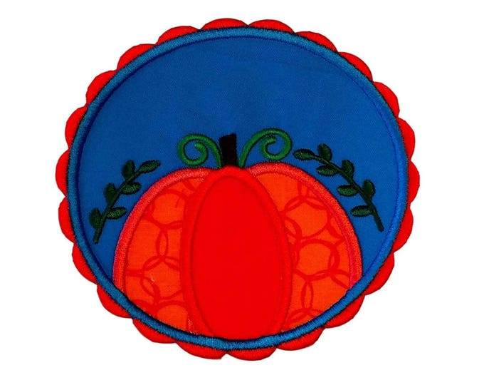 Pumpkin with red scalloped frame and blue background fabric iron on applique- fall no sew embroidered patch- ready to ship
