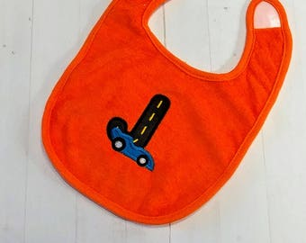 Race car initial letter bright orange embroidered Koala Baby cloth baby bibs for 6-12 month old boys