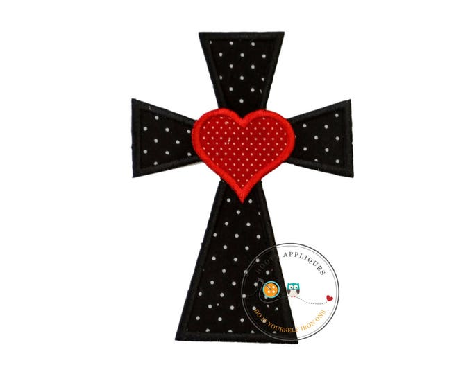 Cross with heart in black and white Chevron fabric - iron embroidered fabric applique patch embellishment- ready to ship