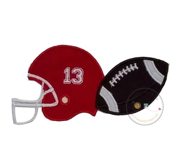 Football helmet and football  iron on applique
