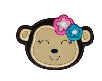 """Girl monkey face iron-on applique- 2.5"""" Cute Zoo Animal embroidered patch ***Ships in 72 hrs***"""