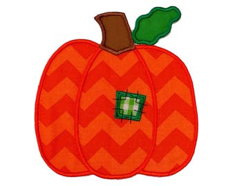 Chevron Pumpkin with patchwork fabric iron on applique