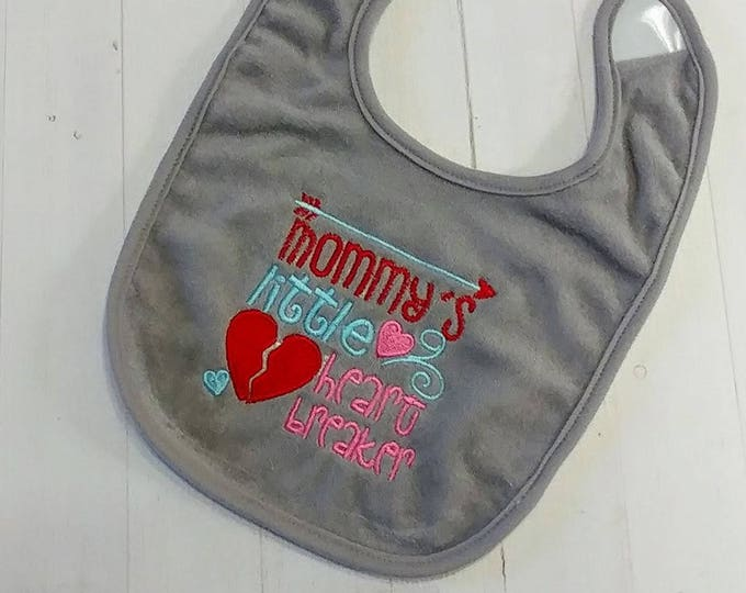 Mommy's little heart breaker Valentine's gray embroidered terri cloth baby bibs  girls