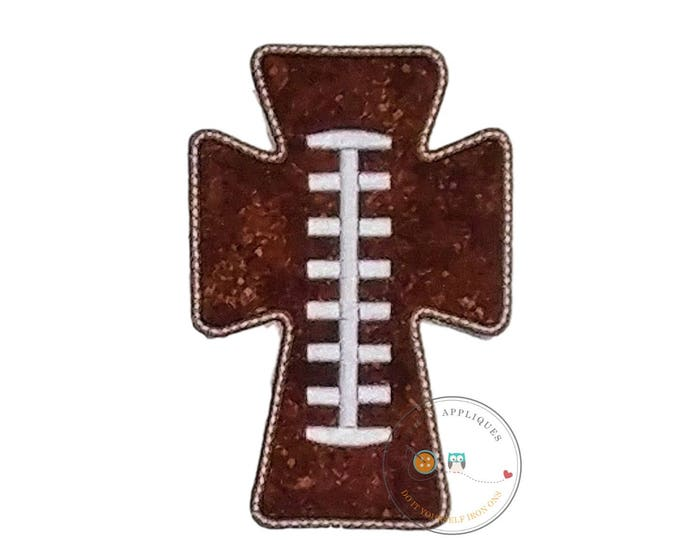 Cross football iron on applique