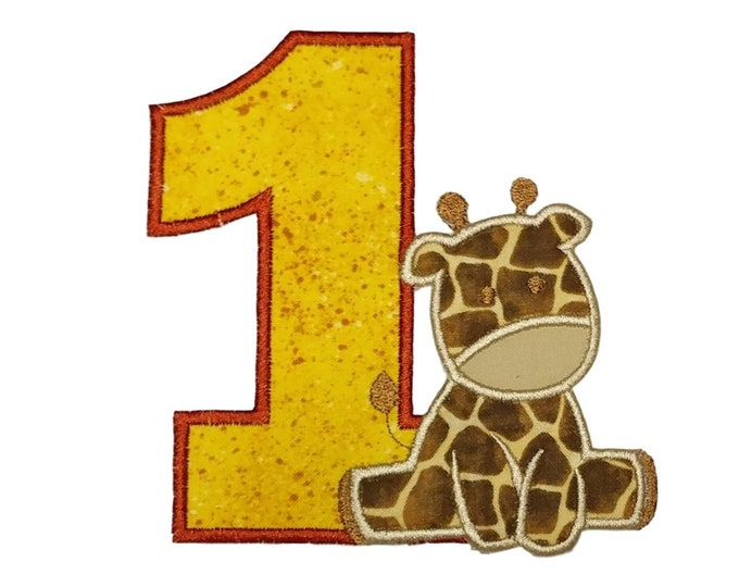 "Number One with Baby Giraffe iron on applique- 4.75"" Personalizable zoo Birthday Patch *** Ships in 72hrs!***"