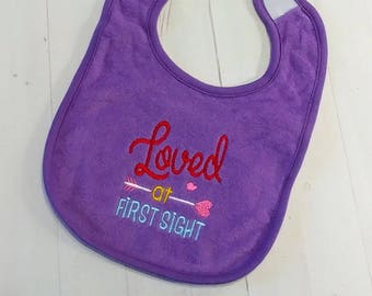 Loved at first sight Valentine's purple embroidered terri cloth baby bibs  girls