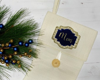 """Personalized Christmas Stocking Iron on Name Tag- 4"""" Blue and Gold Holiday monogram applique"""