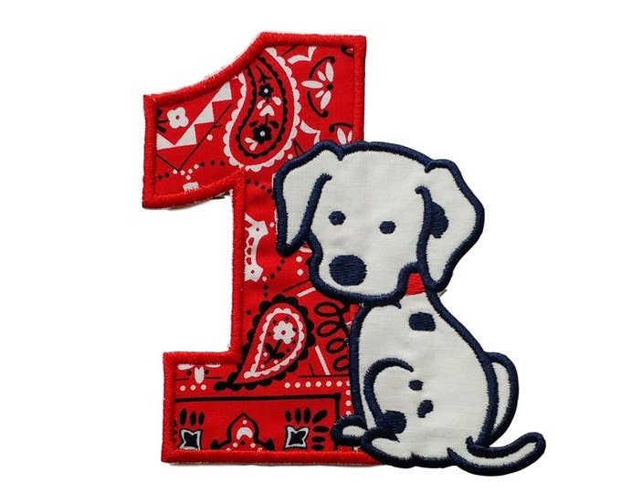 Iron on bandanna number with puppy applique- Number 1-4 available- Personalize with a name ***Ships in 72 hours***