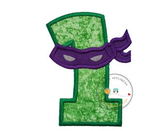 Ninja number with purple mask, iron on birthday number 1, embroidered applique birthday number, ninja theme for first birthday iron on