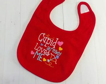 Cupid already love me Valentine's red embroidered terri cloth baby bibs  girls