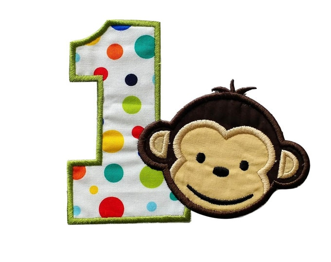 """Mod monkey number one iron on applique- 4.5"""" H x 5.25 W- *** Ships in 72 Hours ***"""