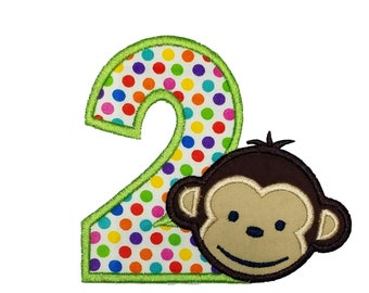 Girl mod monkey number two iron on applique- Personalizable embroidery patch- ***Ships in 72 Hrs***