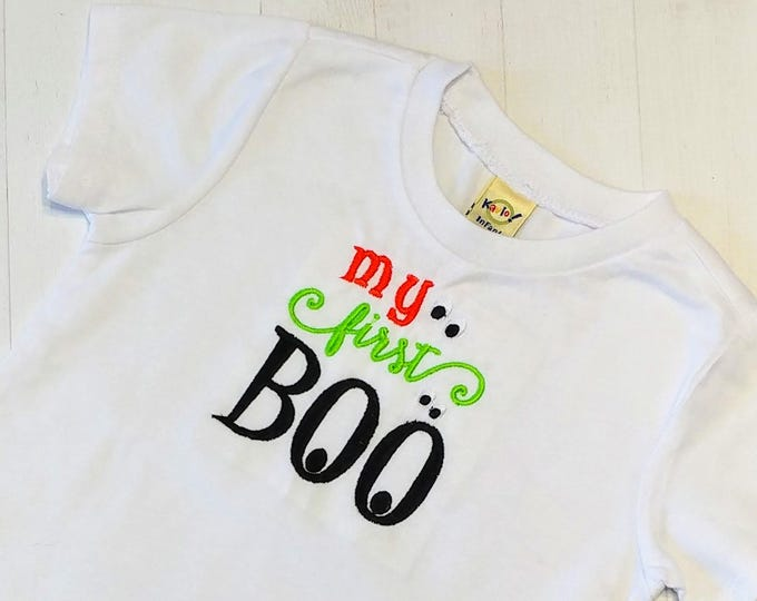 My first BOO embroidered t shirt for girls- Halloween top boys and girls- tops for toddlers