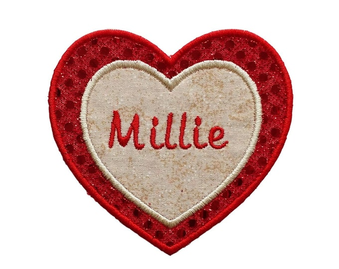 Sequin Heart name tag- Red and gold- Personalizable- ***Ships in 72hrs***