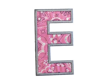 Pink bandanna iron on letters A-Z - 4.75 inch Machine embroidered fabric alphabet- quick shipping