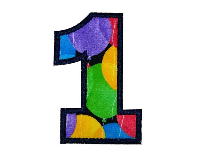 "Birthday Balloon Number One iron on applique- 3.75""Multi-Color Block Number 1 *** Ships in 72hrs!***"