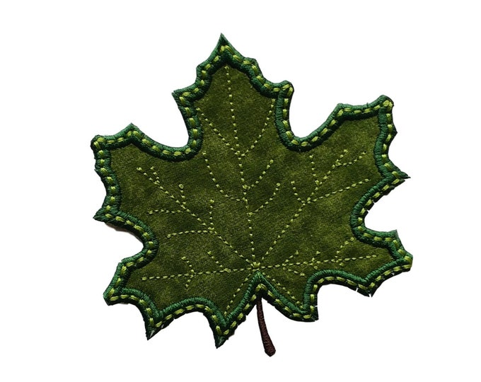 "Iron on applique- small green leaf- 3.75""  Personalize with a name *** Ships in 72 hours***"