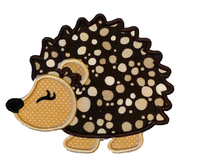 Woodland hedgehog fabric iron on applique- hunting no sew embroidered patch- ready to ship