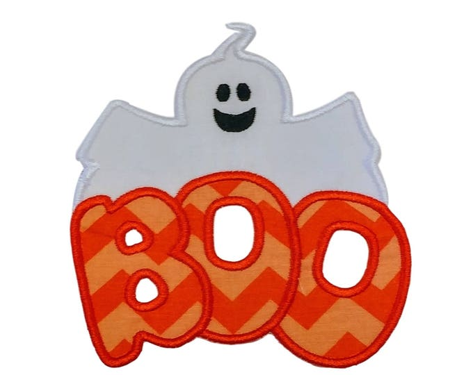 BOO with cute ghost Halloween iron on applique