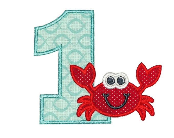 "Number One with Crab iron on applique- 4.75"" Personalizable Summer Beach Birthday Patch *** Ships in 72hrs!***"
